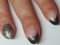 French manicure antractiet glitter ringvinger